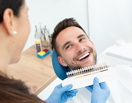 Patient and dentist smiling at each other during appointment